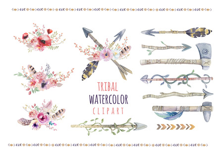Watercolor colorful ethnic set of arrows  and flowers in native American style.Tribal Navajo isolated illustration ornament on white background. Indian, Peru Aztec wrapping illustration. Stockfoto