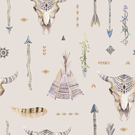teepee: Watercolor boho seamless pattern with teepee, arrows, feathers, cow skull.  Decoration native tribal print. Aztec tomahawk ethnic design. watercolour art wallpaper. Isolated on white