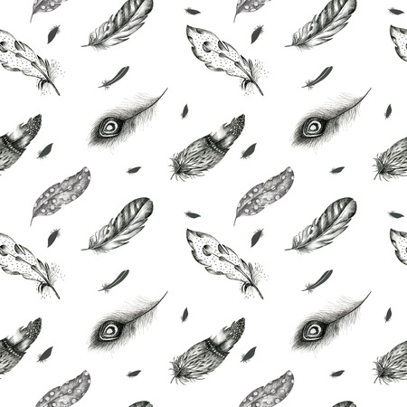 graphic arts: Vintage seamless  graphic pattern with hand-drawn feathers. Flying  boho birds fashion arts. Wallpaper decoration animals decor. Nature element Stock Photo