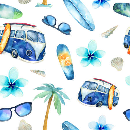 watercolour: Hand drawn watercolor ocean surfing set. Beach holiday tropical travel adventure. Island with palm, retro car,  wagon, bus, surfboard, sunglasse, shell and flower hibiscus. Watercolour sea sport activity.