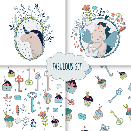 belive: Cute magic collection with princess, unicorn, rainbow, dragon, fairy wings. Dream Spring illustration of cute animals and flowers. Fairytale design for your love card, invitation, children or wedding DIY.Vector isolated  illustration on white. Illustration