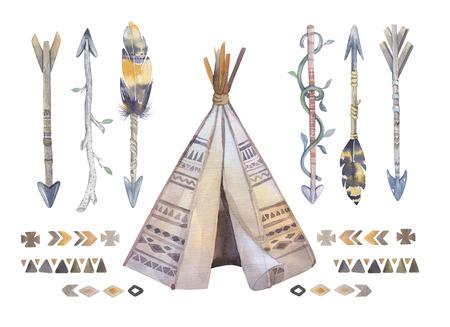 Watercolor teepee, arrows, fearhers and tomahawk. Boho america  indians tribal style travel tent decoration. Tipi isolated illustration on white backgraund.  children design. indian , nebraska, dakota.