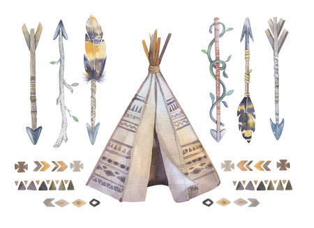 plains indian: Watercolor teepee, arrows, fearhers and tomahawk. Boho america  indians tribal style travel tent decoration. Tipi isolated illustration on white backgraund.  children design. indian , nebraska, dakota.