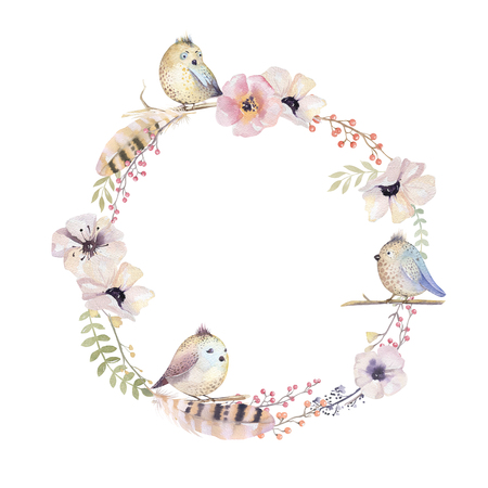 purple wreath: Watercolor floral wreath. Watercolour natural frame: leaves, feathers, flowers, birds. Isolated on white background. Artistic decoration illustration. Save the date , weddign design, greeting card Stock Photo