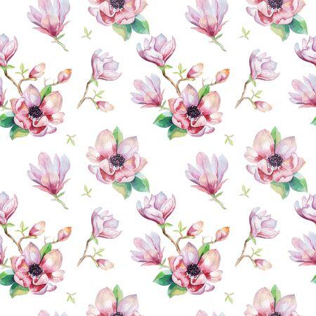 Akwarela bezszwowe tapeta z kwiatów i liści magnolii, wzór dekoracji akwarela. Projekt na zaproszenie, ślub lub kartki z życzeniami