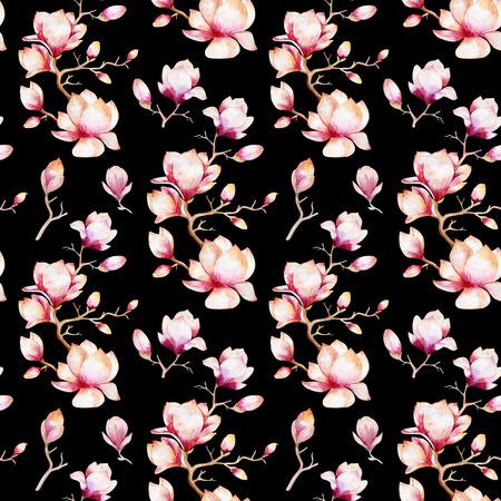 perfecta imagen de fondo de la acuarela con magnolia flores y hojas, patrón de la decoración de la acuarela. Diseño para la invitación, boda o tarjetas de felicitación Foto de archivo