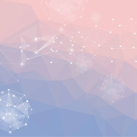 pantone: Abstract polygonal background. Low poly design connecting dots and lines. Connection structure. Polygonal Futuristic design. 2016 Pantone color. Rose Quartz and Serenity. gradient background