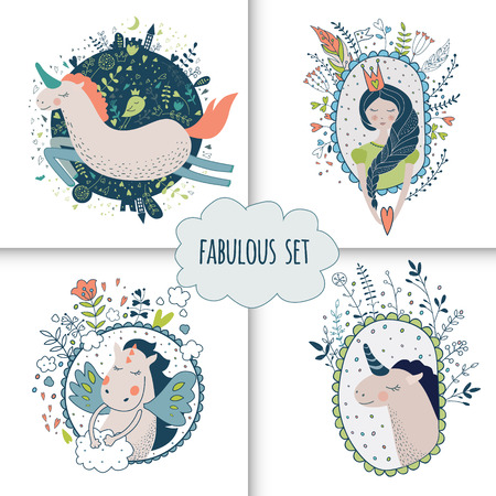 belive: Cute magic collection with princess, unicorn, rainbow, dragon, fairy wings. Dream Spring illustration. isolated illustration on white.