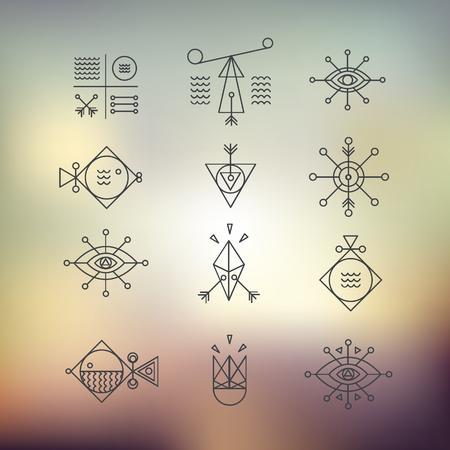 Ligne façonne la géométrie. Alchemy, la religion, la philosophie, la spiritualité, les symboles hipster et éléments. style de polygone avec des formes géométriques. Hipster et le style rétro. Parfait pour la conception de votre entreprise.