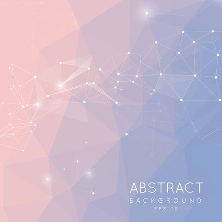 Sfondo astratto poligonale. Design a basso poli che collega punti e linee. struttura di connessione. Design futuristico poligonale. 2016 colore Pantone. Quarzo Rosa e serenità. gradiente di sfondo