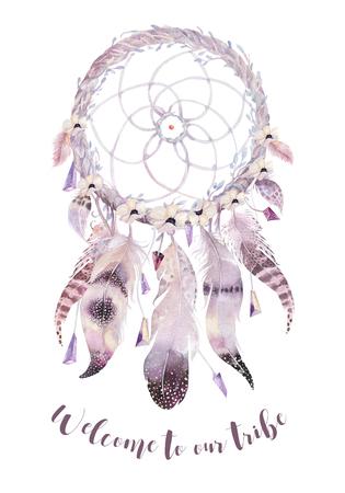 水彩装飾ボヘミアン ドリーム キャッチャーを分離しました。自由奔放に生きる羽。ネイティブの夢のシックなデザイン。謎あるトライバル プリン 写真素材