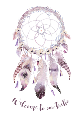 Isolated Watercolor decoration bohemian dreamcatcher. Boho feathers. Native dream chic design. Mystery etnic tribal print. Tribal american culture. Banco de Imagens