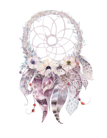 Isolated Watercolor decoration bohemian dreamcatcher. Boho feathers. Native dream chic design. Mystery etnic tribal print. Tribal american culture. 写真素材