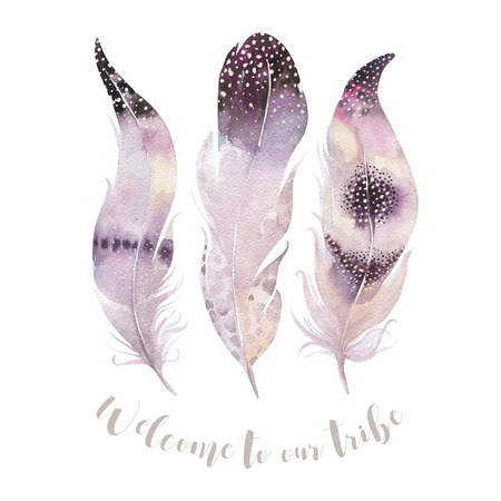 bright paintings: Hand drawn watercolor paintings vibrant feather set. Boho style wings. illustration isolated on white. Bird fly feathers  bohemian design. Rustic Bright colors decoration.
