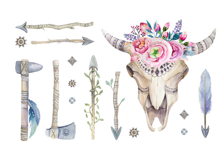 cow skull: Watercolor cow skull with flowers and feathers decoration. Boho tribal rustic style horn  buffalo design. Bull  western longhorn isolated on white backgraund Stock Photo