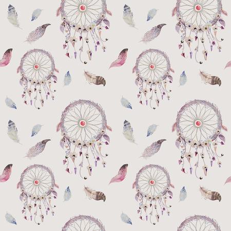Dreamcatcher And Feather Pattern Watercolor Bohemian Decoration Mesmerizing Dream Catcher Design Patterns