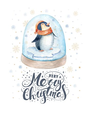 pinguin: Merry Christmas lettering with watercolour pinguin. New year card.