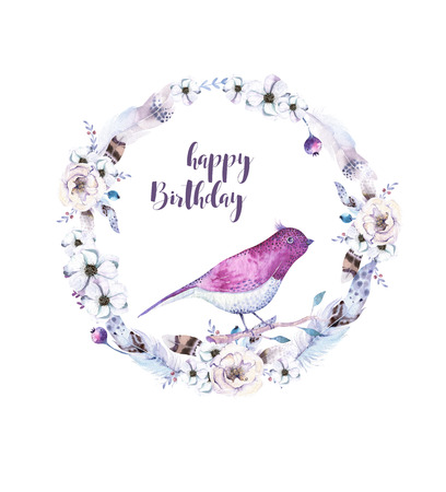 artistic flower: Watercolor boho floral  flower wreath. Watercolour bohemian natural frame: leaves, feather and birds.  Isolated on white background. Artistic decoration illustration. Save the date. Stock Photo