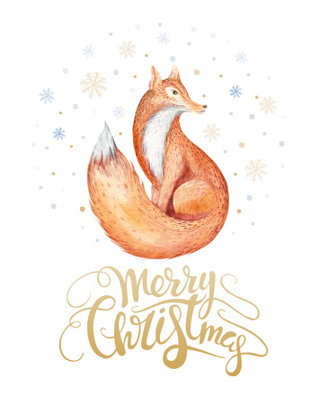 Merry Christmas watercolor lettering with watercolour fun fox. Happy New year card.