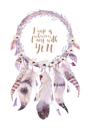 Isolated Watercolor decoration bohemian dreamcatcher. Boho feathers. Native dream chic design. Mystery etnic tribal print. Tribal american culture. Reklamní fotografie