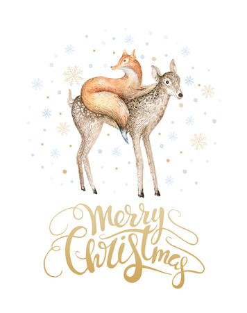 Merry Christmas watercolor lettering with watercolour fun fox and baby deer. Stock Photo