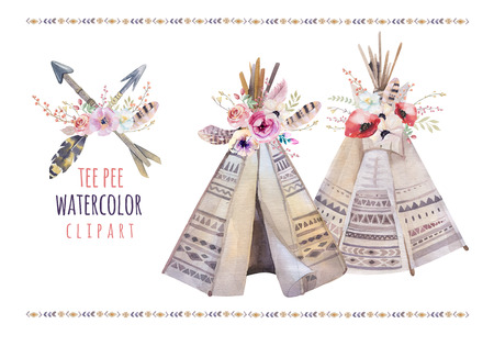 Handdrawn watercolor  tribal teepee, isolated white campsite tent. Boho America traditional native ornament. Indian tee-pee with arrows and feathers 写真素材