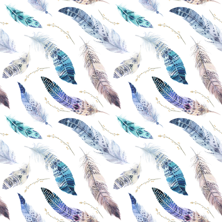 elegant wallpaper: Feathers pattern. Watercolor elegant background. Watercolour color organic design print. Seamless repeating colour boho texture with hand drawn chic wallpaper. Bird illustration. Stock Photo
