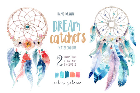 Isolated Watercolor decoration bohemian dreamcatcher. Boho feath Stok Fotoğraf