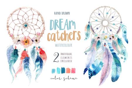 la decoración de la acuarela aislado dreamcatcher bohemio. feath boho Foto de archivo