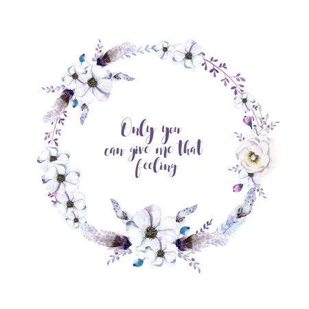 isolated flower: Watercolor floral boho  flower wreath. Watercolour natural frame: leaves, feather and birds. Isolated on white background. Artistic bohemian decoration illustration. Save the date. Tribal  Stock Photo