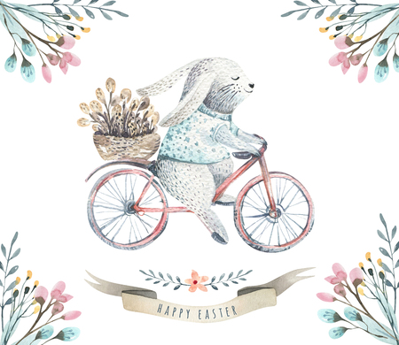 Hand drawing easter watercolor cartoon bunnies with leaves, bran 写真素材