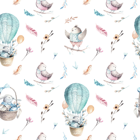 Cute baby rabbit animal seamless pattern, forest illustration for children clothing. Woodland watercolor Hand drawn boho image for cases design, nursery posters