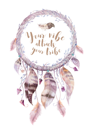 Isolated Watercolor decoration bohemian dreamcatcher. Boho feath Stockfoto