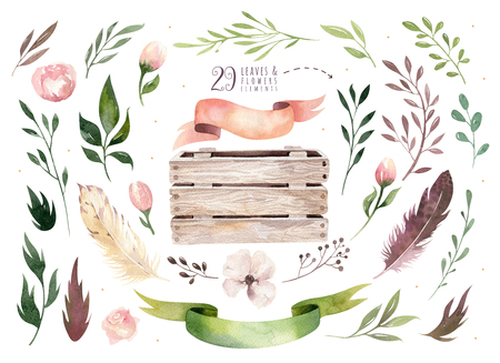 Dessin à la main isolé boho aquarelle illustration florale avec des feuilles, des branches, des fleurs, une boîte en bois. Art verdoyant de Bohême en style vintage. Floral pour carte de mariage. Banque d'images - 80351105