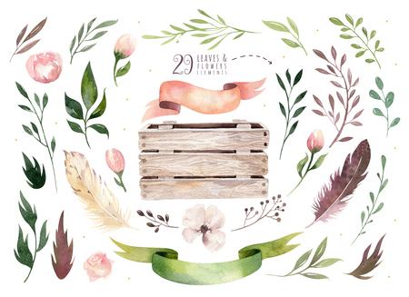 Hand tekening geïsoleerde boho aquarel bloemen illustratie met bladeren, takken, bloemen, houten kist. Boheemse groenkunst in vintage stijl. bloemen voor trouwkaart. Stockfoto - 80351105