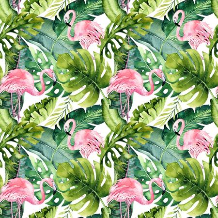플라밍고와 열 대 격리 된 원활한 패턴입니다. 드로잉 수채화 트로픽, 조류와 녹지 장미 팜 트리, 트로픽 녹색 질감, 이국적인 꽃. 알로하 세트 스톡 콘텐츠