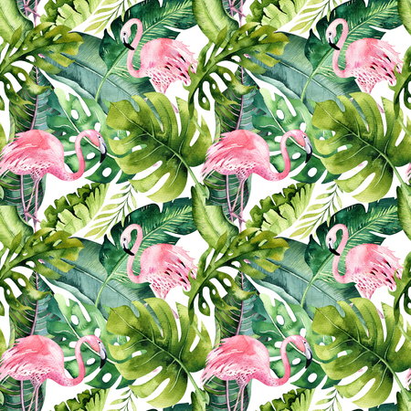 Motif transparent isolé tropical avec flamant. Dessin au tropique aquarelle, oiseau rose et palmier vert, texture tropicale verte, fleur exotique. Ensemble Aloha
