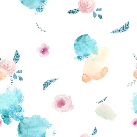 gouache: Watercolor seamless pattern with floral elements and dot memphis fashion style, bright design repeating background. Hand painted fashionable brush shapes. bohemian Flowers and leaves.
