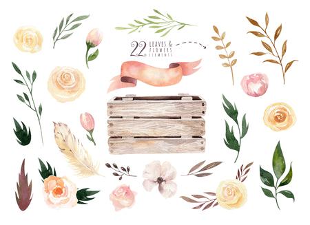 손을 격리 나뭇잎, 분기, 꽃, 나무 상자 격리 된 boho 수채화 꽃 그림. 보헤미안 녹지 예술 빈티지 스타일입니다. 웨딩 카드에 대 한 florals입니다. 스톡 콘텐츠 - 80959878