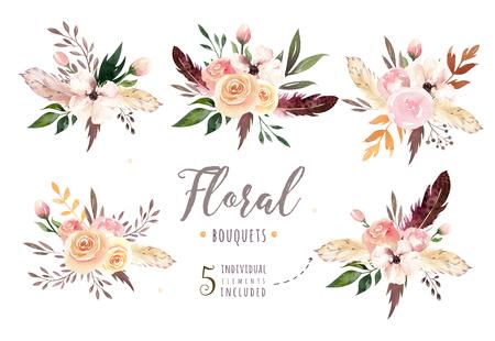 Dibujo a mano aislado boho acuarela ilustración floral con hojas, ramas, flores. Arte bohemio de la vegetación en estilo de la vendimia. Elementos para la tarjeta de boda. Foto de archivo - 80959889