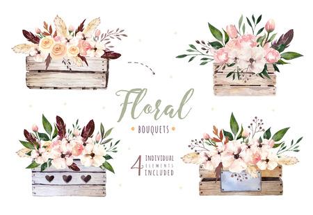 Dibujo a mano alzada boho acuarela ilustración floral con hojas, ramas, flores, caja de madera. Arte de vegetación bohemia en estilo vintage. florales para tarjetas de boda. Foto de archivo - 80841575