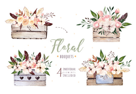Hand drawing isolated boho watercolor floral illustration with leaves, branches, flowers, wooden box. Bohemian greenery art in vintage style. florals for wedding card.