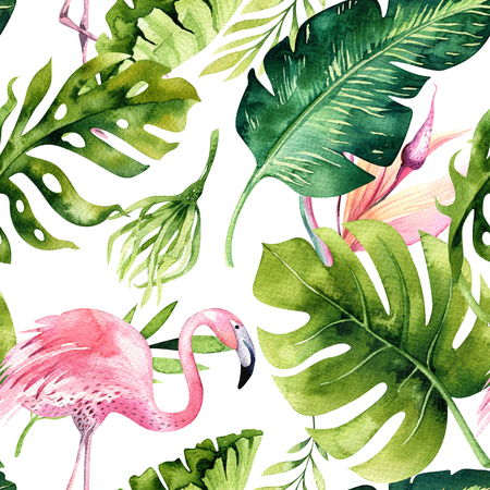 Tropical isolated seamless pattern with flamingo. Watercolor tropic drawing, rose bird and greenery palm tree, tropic green texture, exotic flower. Aloha set