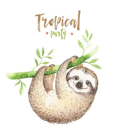 Baby dieren luiaard kwekerij geïsoleerde schilderij. Waterverf boho tropische tekening, kind tropische illustratie. Schattige palmbladeren, tropische groene textuur, exotische bloem. Aloha tekening