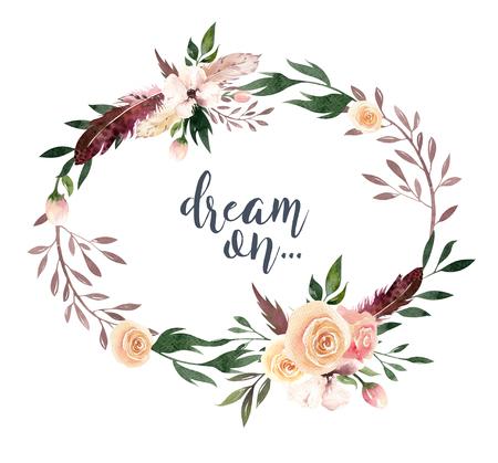 Dibujo a mano aislado boho acuarela ilustración floral con hojas, ramas, flores. Arte bohemio de la vegetación en estilo de la vendimia. Elementos para la tarjeta de boda. Foto de archivo - 80841578
