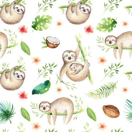 Baby animals sloth nursery isolated seamless pattern painting. Watercolor boho tropical drawing, child tropical drawing cute palm tree leaves, tropic green texture, exotic flower. Aloha baby shower
