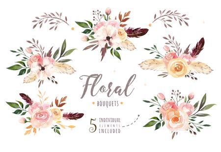 Dibujo a mano aislado boho acuarela ilustración floral con hojas, ramas, flores. Arte bohemio de la vegetación en estilo de la vendimia. Elementos para la tarjeta de boda. Foto de archivo - 82326701