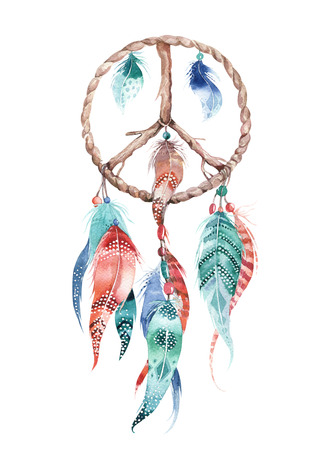 Isolated Watercolor decoration bohemian dreamcatcher. Boho feathers. Native dream chic design. Mystery etnic tribal print. Tribal american culture. Stok Fotoğraf