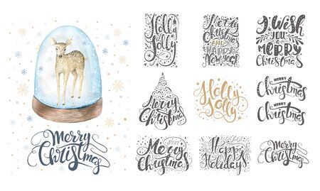 Merry christmas lettering over with snowflakes and deer. Hand dr