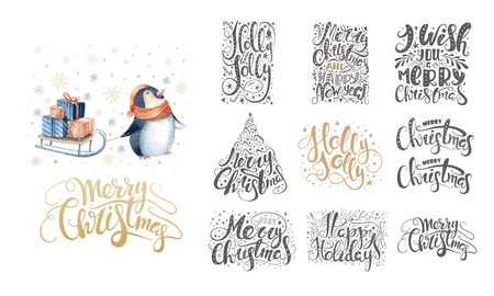 christmas tree illustration: Merry christmas lettering over with snowflakes and penguins. Han Stock Photo